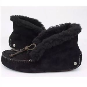 UGG ALENA FULLY LINED SUEDE MOC SLIPPERS IN BLACK